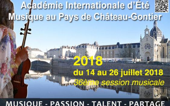 Dates de l'édition 2018 de l'Académie Internationale de Musique de Château-Gontier